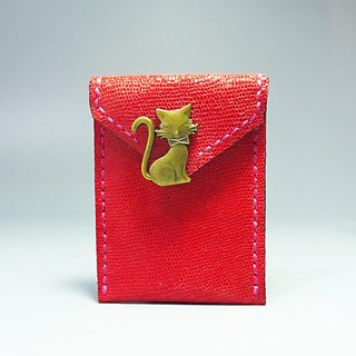 [ANITA] limited edition hand-made workshop ‧ x Lucky Cat smile handmade leather texture envelopes Wallets / purse - Specials