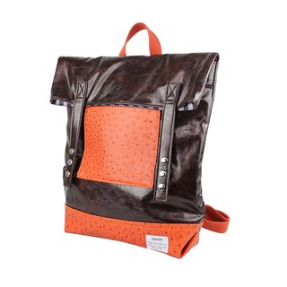 AMINAH-coffee row buckle backpack [am-0288]