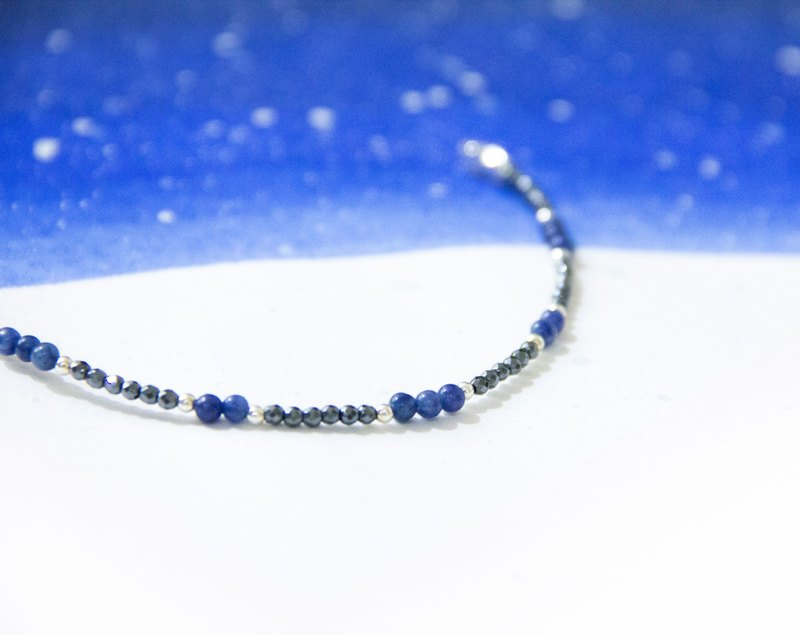 Moonlight stars / quiet night sky - natural stone 925 Silver Bracelets