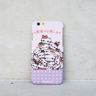 Dollmei iPhone 6 shell phone cute cat food and drink happy purple