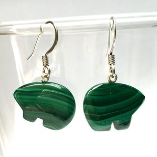 E0284 - own design and manufacture - fashion generous gift of choice - natural stones - malachite, silver 925 earrings