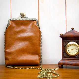 Hand-stitched leather camel gold oblique backpack custom retro phone bag with bag travel bag