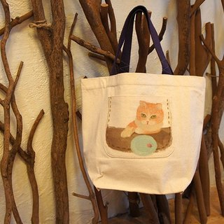 Exclusive small things} little happiness canvas bag: Rose cat eat natural system _ _ _ Taiwan design and manufacture of wind illustration
