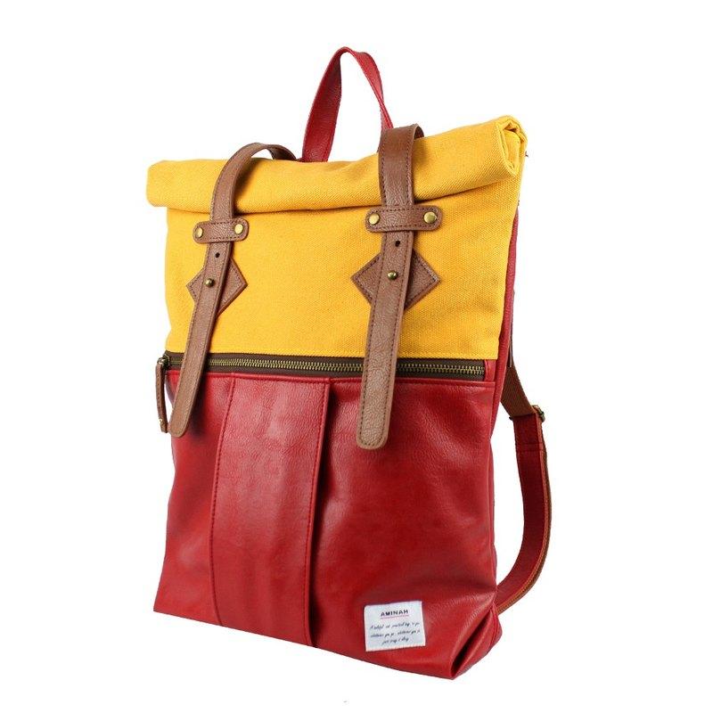 AMINAH-紅色漫步後背包【am-0289】