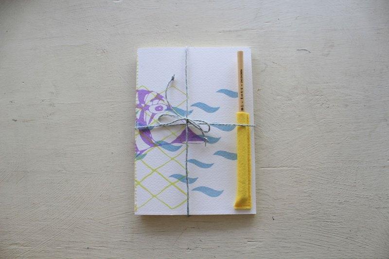 【ZhiZhiRen】厵 | 車縫線筆記本 - 旗津補魚 - 魨