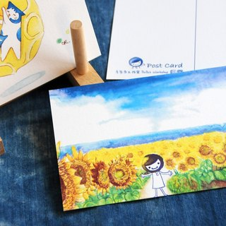 Hand-drawn illustrations postcard set