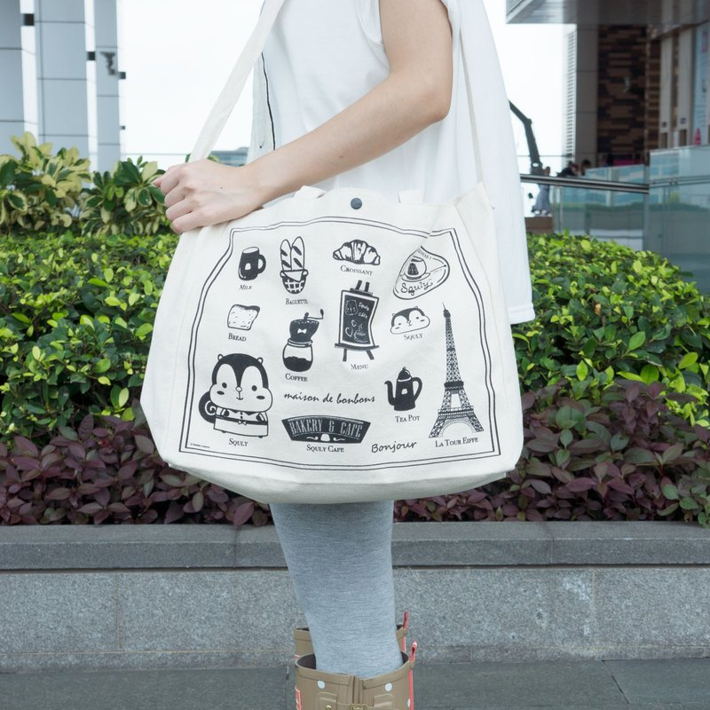 Cafe Pattern Canvas Tote Bag (E002SQB)