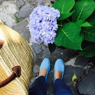 Espadrilles comfortable blue straw shoes