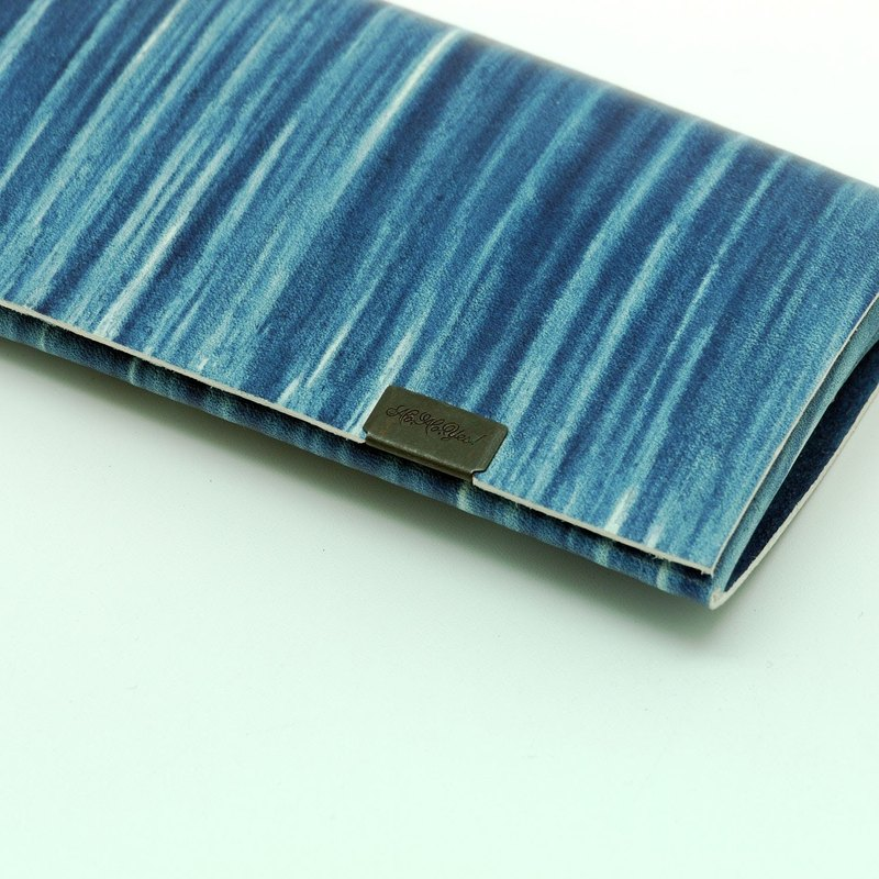 Japanese handmade - made Shosa vegetable tanned leather business card holder / card holder - staff hand-painted / indigo