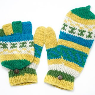New Year's gift limit a hand-woven pure wool knit gloves / detachable gloves / bristles gloves / warm gloves - fresh grass sky totem