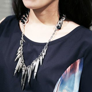 Taiwan's original Double M metal bullets tassel necklace