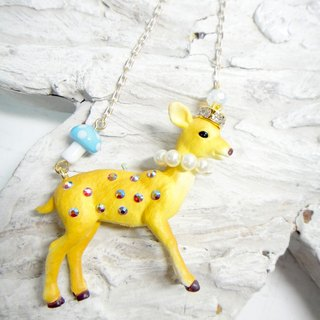 TIMBEE LO Meng cute Bambi necklace Japanese style than crystal stone decorated florets