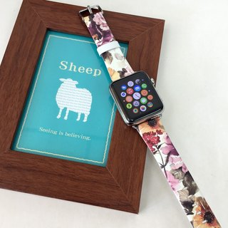 Apple Watch Series 1, Series 2  and Series 3 - Colour Flowers Printed on Genuine Leather for Apple Watch Strap Band 38 / 42 mm - 70