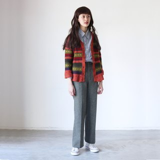A ROOM MODEL - VINTAGE, CS-1596 vintage warm sweater with green stripes Shimokitazawa