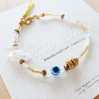 Cha mimi. From the Aegean Sea. Greece luxurious blue evil eye gold charm bracelet
