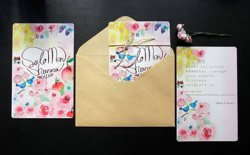 [customized wedding invitation / wedding card] watercolor hand-painted design