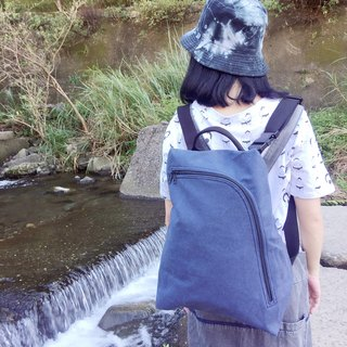 畚 箕 package / oblique backpack / backpack / side backpack / handbag / canvas bag / stone wash blue