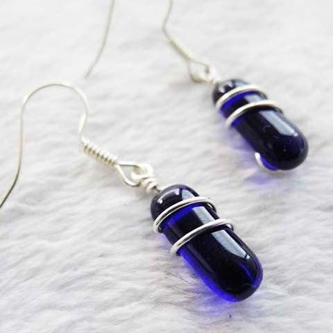 婚禮週邊-藝術線纏繞耳環-寶藍