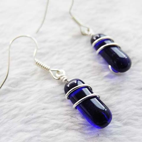 Art Line Wrap Earrings - Sapphire