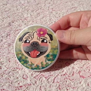 Pocket Mirror-Pug with a flower