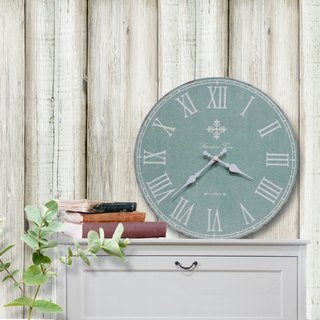 Solid wood vintage wall clock - light green - gray - Roman numerals - round -30cmX30cm - mute