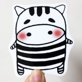 Waterproof sticker (large)_Black and White Zoo 06 (Zebra)