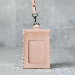 nude color leather ID card case