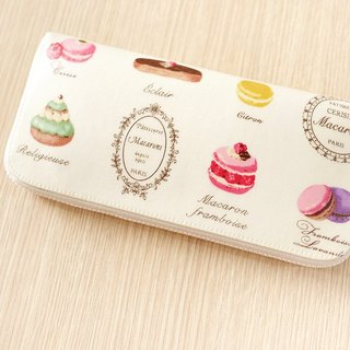 Sweetheart Tea Macaron waterproof long clip (beige) / wallet / purse / purse