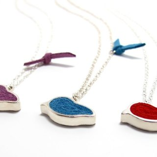 Handmade Red, Blue, Green Bird Pendant Necklace in Silver( 1 piece)