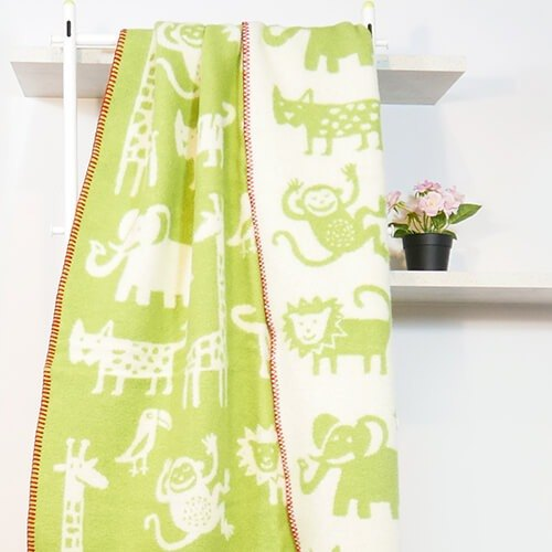 Warm blanket / lazy on the sofa blanket Sweden Klippan organic wool blanket - wilderness hide cat (green)