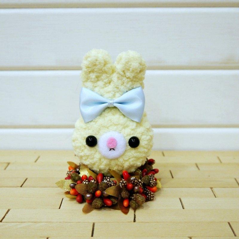 馬卡龍-兔-淺黃。鑰匙圈。吊飾