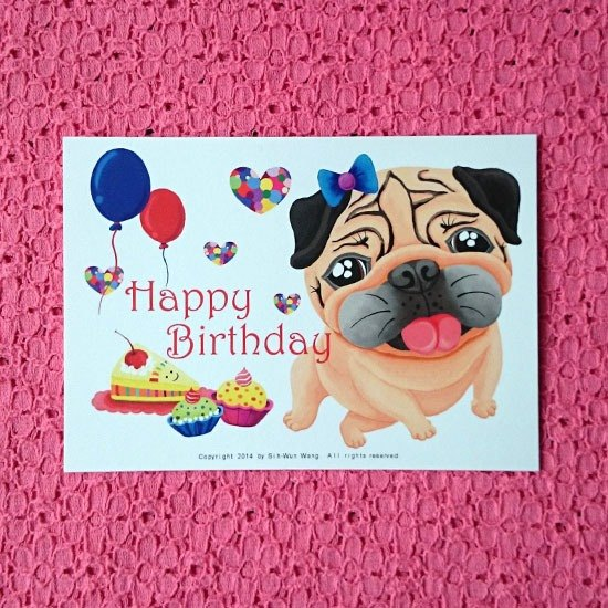 Postcard Happy Birthday Pug 05