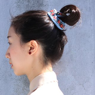 【The MAMA's Closet】Poinsettia / Denim with Ribbon Scrunches