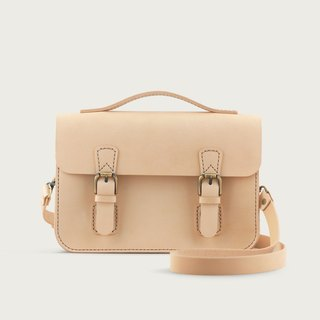 Double buckle small bag / side backpack - original leather color