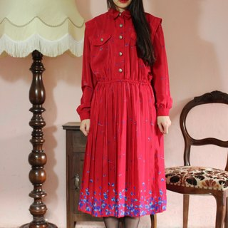 F1199 (Vintage) red flowers long-sleeved vintage dress (wedding / picnic / party)