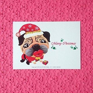 Postcard-Merry Christmas Pug-03
