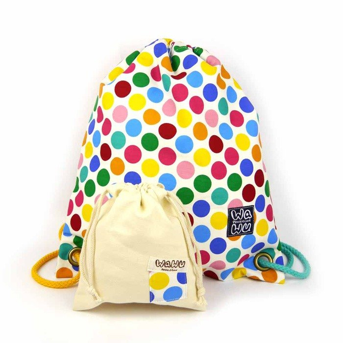 WaWu Drawstring backpack (Colorful dot fabric) / Bundle backpack / Sport bag / Bundle backpack / school bag / pool bag / vegetable and fruit bag
