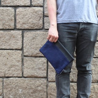 Waxed Canvas Medium Portfolio Bag- Blue
