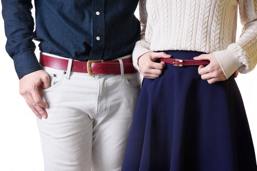 *New Year I'm Feeling Lucky*handmade leather lovers into two co-purchase discount - Italian vegetable-tanned saddle leather belt - maroon