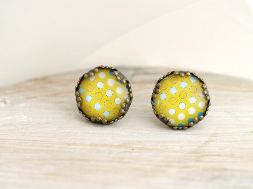♥ ♥ OldNew Lady- made a small gift bronze lace earrings - Brilliant yellow summer little section [Summer]