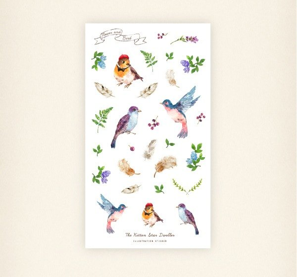 Flowers and birds transparent sticker set