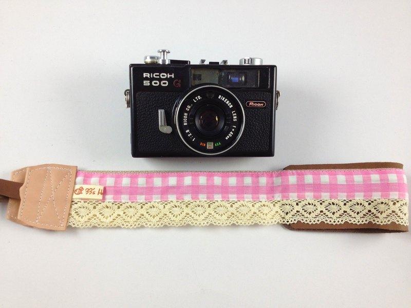 手作單眼.類單眼減壓相機背帶.相機背繩---蕾絲粉紅格款