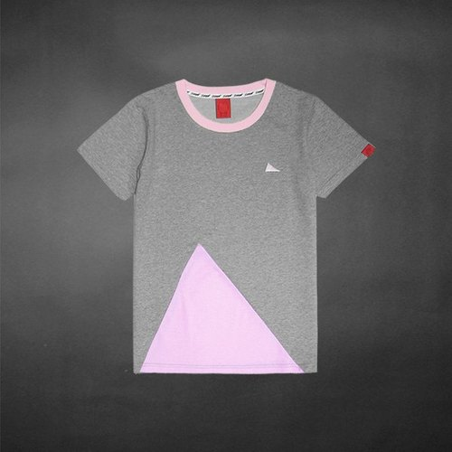 Irregular Triangle Colorful Patch Tee - Pink - S Sold Out