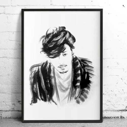 custom portraits - Chinese ink painting - BEING YOURSELF-mindfulness - Wood Frame