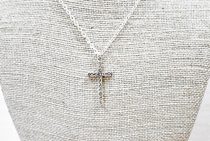 Alloy X Rhinestone Necklace <Yellow Cross> => Limited X1