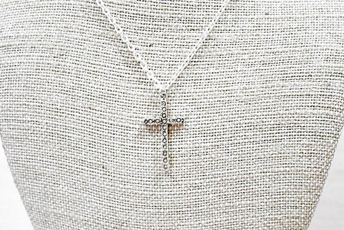 Alloy X diamond cross necklace * yellow *