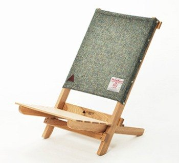 A.NATIVE outdoor camping picnic ground wooden folding chair / Harris wool / green