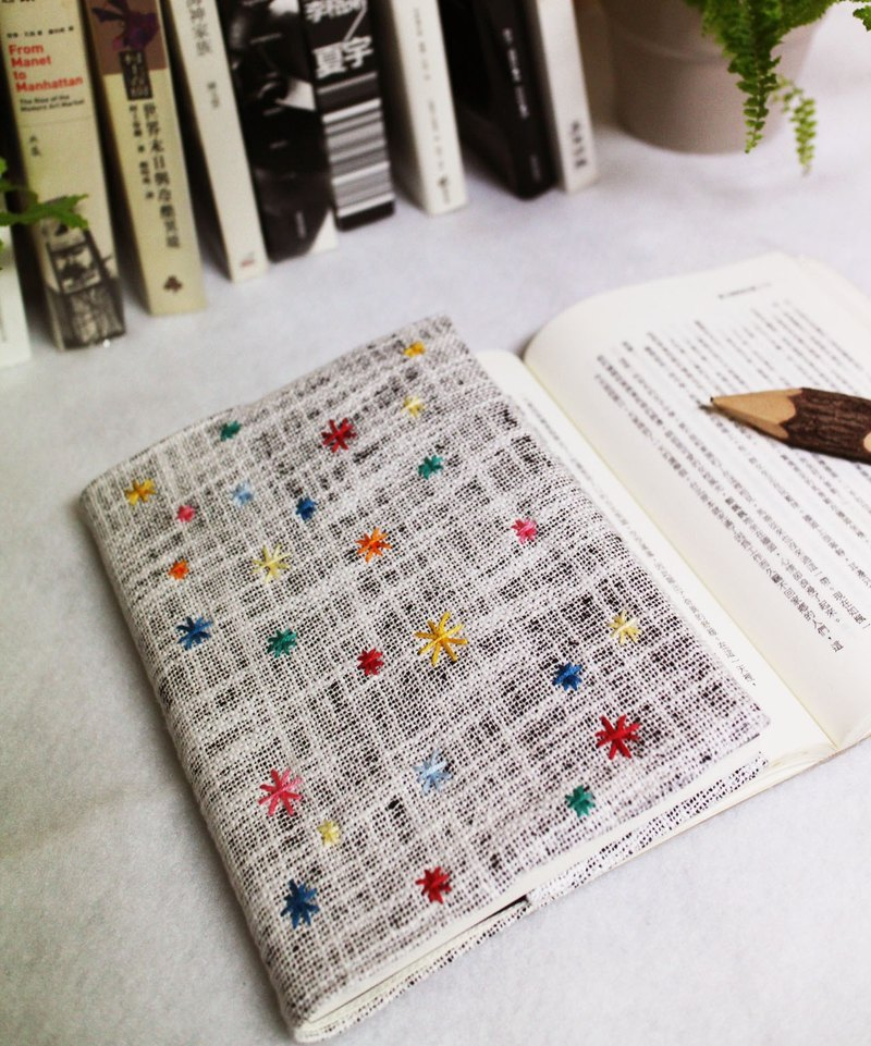 Handmade book clothes notebook [Wanhua spring] white and black double weave canvas (big Ben = A5)