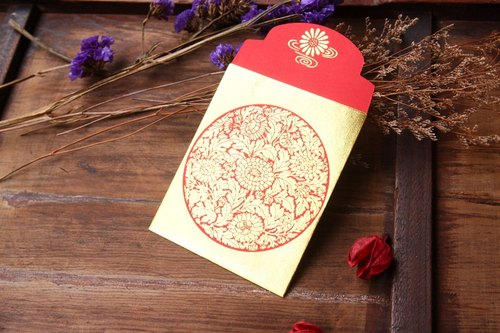 ✿Red Envelope/Gold Stamping in Flowers/Small Size