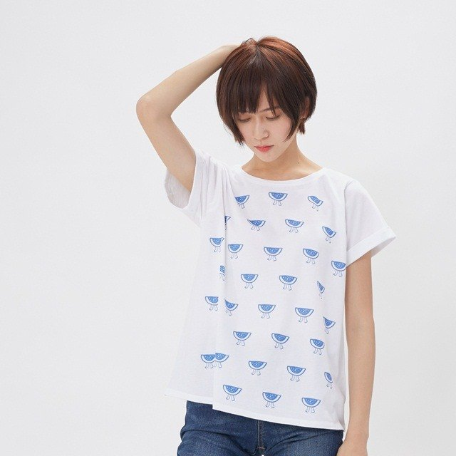 Watermelon Folded Sleeves Cotton T-Shirt